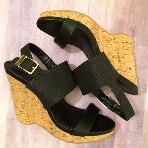 Calvin Klein Black Wedge Sandals 10